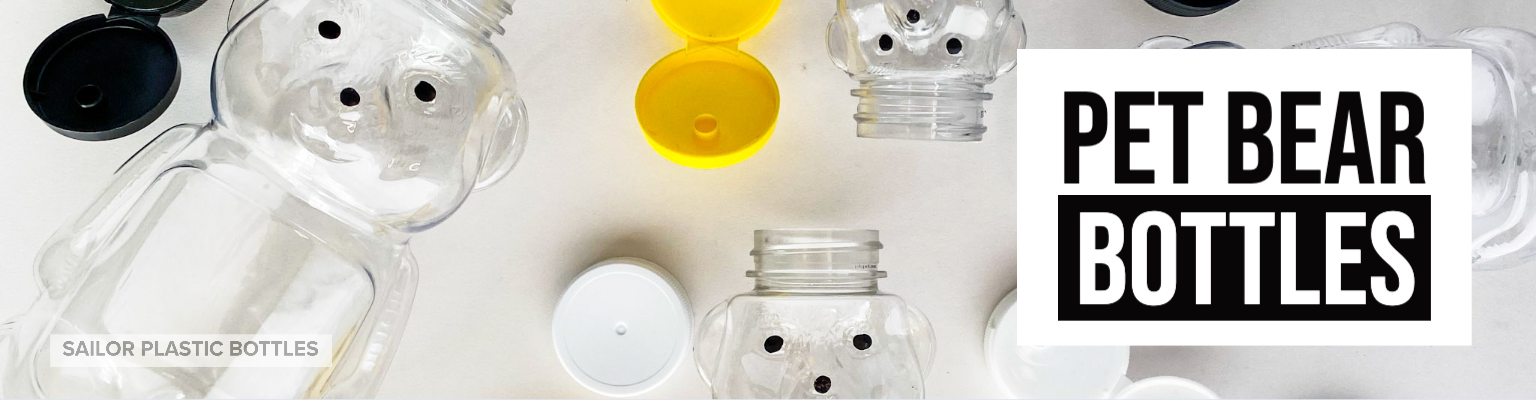 Clear PET Honey Bear Bottles